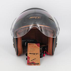 Mũ bảo hiểm 3/4 SRT 368K viền đồng lót nâu cao cấp có thông gió – kính càng – Đen – dành cho người đi phượt