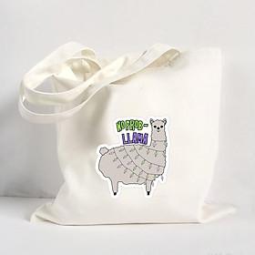 Túi Vải Đeo Vai Tote Bag In Hình No Problem Llama Mẫu 03 - Hàng Chính Hãng