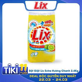Bột Giặt LIX Extra Hương Chanh 2.4Kg EC025 - Tẩy Sạch Vết Bẩn Cực Mạnh