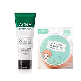 Sữa Rửa Mặt Làm Giảm, Ngăn Ngừa Mụn Some By Mi AHA-BHA-PHA 30 Days Miracle Acne Clear Foam 100ml tặng kèm mũ trùm tóc siêu xinh