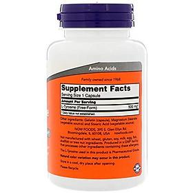 Viên Uống Now L-Tyrosine 500mg Hỗ Trợ Neurotransmitter Và Tinh Thần Tỉnh Táo