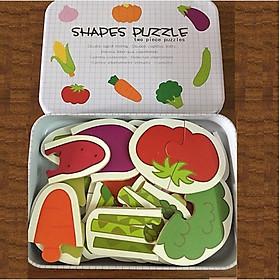 Đồ Chơi Ghép Hình Gỗ Puzzle 2 Mảnh Hộp Sắt Cho Bé Thông Minh