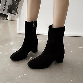 Giày boot nữ cổ cao gót vuông da lộn - Giày boot cao gót 5cm - Giày boot da lộn 2 màu Đen và Nude - Linus LN290