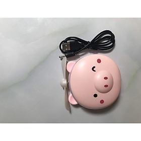 Quạt sạc mini hình heo hồng -  tích hợp gương trang điểm, đèn led và quạt -  kiểu dáng dễ thương, nhỏ gọn – dễ dàng mang theo