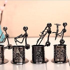 Hộp đựng bút viết  hình người sắc nghệ thuật chơi âm nhạc bằng kim loại trang trí văn phòng bàn làm việc (ngẫu nhiên)