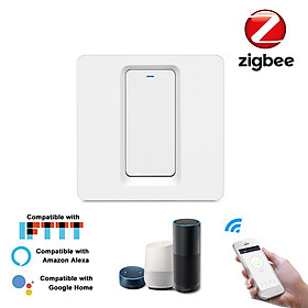 Zigbee Smart Light Switch Push Button Smart Life/Tuya APP Remote Control Wall Switch Compatible with Alexa Google Home