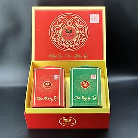 Hộp trà xanh Tân Cương Sương Mai 200g – 2 hộp sắt vuông Đỏ và Xanh
