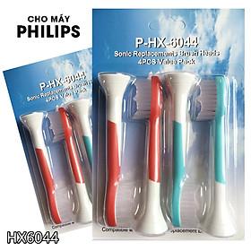 cho máy Philips Sonicare HX3, HX6, HX7, HX8, HX9, R, FlexCare +, FlexCare, HealthyWhite, HydroClean, EasyClean, DiamondClean, Bộ 4 đầu bàn chải đánh răng điện HX-6044