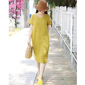 Đầm suông linen cổ tim kèm đai rời, thời trang xuân hè 2021 - Vàng mơ