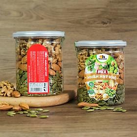 Mix Nhân Hạt Khô Smile Nuts (255g - 500g) | Hạt Dinh Dưỡng đã tách vỏ gồm nhân óc chó, hạnh nhân tách vỏ và nhân hạt bí xanh