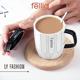 Ly sứ Fashion Life của Fellia cao cấp có nắp đậy tặng kèm muỗng phong cách sang trọng tao nhã _FEL10710