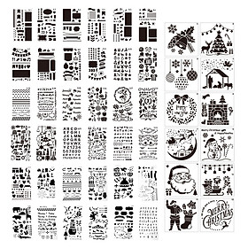 48pcs Drawing Stencils Letter Number Pattern Chirstmas Painting Template Reusable for DIY Journal Notebook Diary