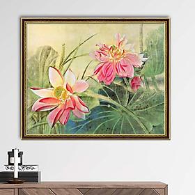 Tranh canvas hoa sen treo tường, phong cách thủy mặc - treo phòng khách, phòng ngủ, phòng làm việc - khung hoa văn sang trọng - HS012