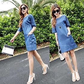 Đầm Jean Denim 2 Túi Giá Rẻ Nhất,  Đầm Jean, Đầm Jean Dáng Suông, Đầm Jean Mẫu Mới Nhất, Đầm Jean Đẹp