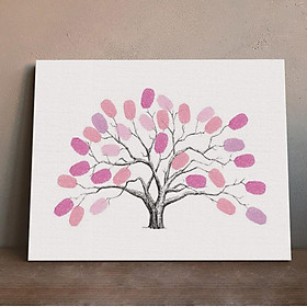 Personalised Wedding Fingerprint Thumbprint Tree Guest Sign-in Book