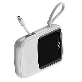 Pin sạc dự phòng mini hỗ trợ sạc nhanh 15W 10.000 mAh 2 cổng USB và 1 cổng Type-CHiệu Baseus Qp-pow kèm dây lightning cho iPad Samsung Huawei Xiaomi Oppo LG Nokia(Sạc nhanh 3A, siêu nhỏ gọn, Output 2 port USB & 1 port Type-C, công suất 15W, LED báo dung lượng) - Hàng nhập khẩu