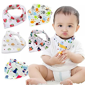 Set 5 khăn yếm tam giác cotton hai cúc bấm cho bé