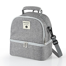 Insular Breastmilk Cooler Bag 3-Layer Design Large Capacity for Breastpump Carry & 3 Feeding Bottles Baby Bottle Bag