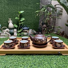 Bộ ấm trà men nâu vẽ mai tách lót
