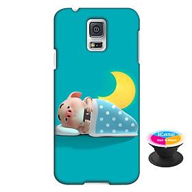Hình đại diện sản phẩm Ốp lưng nhựa dẻo dành cho Samsung Galaxy S5 in hình Heo Con Thức Khuya - Tặng Popsocket in logo iCase - Hàng Chính Hãng