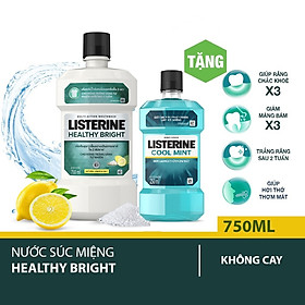 Nước súc miệng Listerine trắng sáng 750ml + Tặng 1 coolmint 250ml