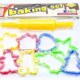 Bộ đồ chơi - Đầu bếp nhí - Baking set Sato có thể chơi với đất nặn Bibebo