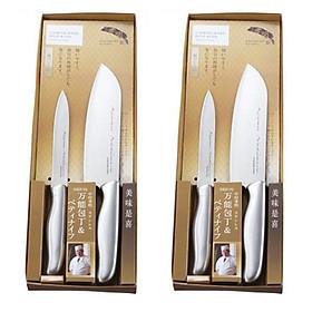 Combo 2 Set 2 dao làm bếp Nakamura nội địa Nhật Bản - Tặng đá mài dao Nhật Bản