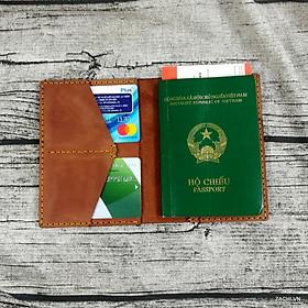 Ví đựng passport, bao da passport, ví đựng hộ chiếu, bao da hộ chiếu, ví đựng passport và thẻ, bao da hộ chiếu du lịch da bò handmade - PP11
