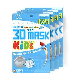Bộ 5 Khẩu trang dành cho bé Unicharm 3D Mask Kid (Ngăn được bụi mịn PM2.5) gói 3 miếng