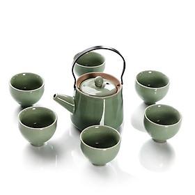 Bộ bình trà phong cách Nhật Bản chất liệu đất cao lanh và men tráng sứ TG5589
