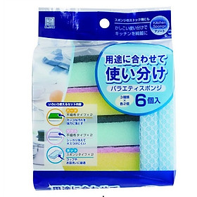 Bộ 06 miếng mút rửa chén bát Kokubo