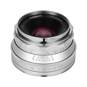 Andoer 25mm F1.8 Manual Focus Lens Large Aperture Compatible with Canon M1/ M2/ M3/ M5/ M6/ M10/ M100/ M50 EOS M-Mount