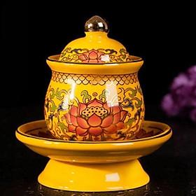 Ly Nước Thờ Chất Liệu Gốm Mầu Vàng Vân Hoa Sen - BH123