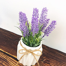 Chậu Hoa Giả Hoa Lavender Trang Trí