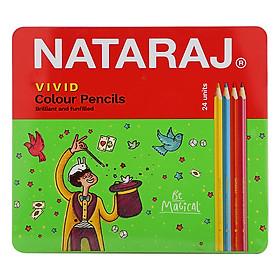 Bút Chì Màu Dài Nataraj 404253 - 24 Màu Vivid - Hộp Sắt