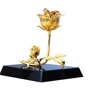 Hoa hồng mạ vàng để bàn 3 in 1: Đế pha lê