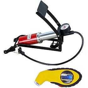 Combo Bơm hơi đạp chân 1 Pitton kèm Đồng hồ điện tử đo áp suất lốp xe chuyên dụng cho ô tô xe máy