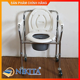 Ghế bô vệ sinh Inox cao cấp, có bánh xe di chuyển tiện lợi, cho người già, người bệnh và trẻ em mẫu 2021
