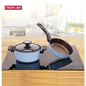 [Hàng chính hãng] Bộ đôi nồi chảo chống dính bếp từ Neoflam Reverse 20cm, phủ chống dính Daikin 4 sao Nhật Bản, nắp vung bằng kính cường lực viền silicone đen. Tráng chống dính bên ngoài màu xanh dương