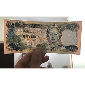 Tờ tiền cổ đảo quốc Bahamas, mệnh giá lạ 1/2 dollar nữ hoàng Elizabeth II