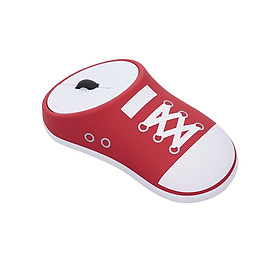 Wireless Rechargeable Mouse Sneaker Mice 2.4G Wireless Office Mouse Silent Click Auto-sleep Plug and Play (Red)