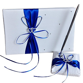 Ribbon Bow Wedding Supplies Set Guest Signature Book+pen Holder For Party