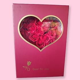 Hộp hoa hồng sáp thơm 19 bông hoa cao cấp phù hợp làm quà tặng cho phụ nữ, bạn gái, người yêu Màu ngẫu nhiên