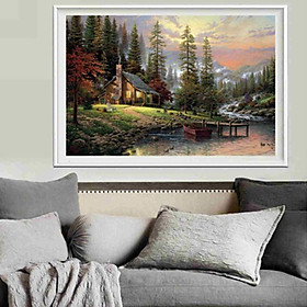 Natural Scenery Mountain Waterfall Canvas Print Oil Painting Wall Picture