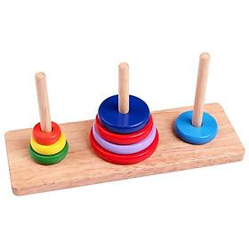 Tháp xếp chồng gỗ 3 cọc rèn luyện kỹ năng cho bé