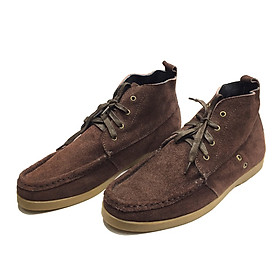 Giày sneaker nam nữ cao cổ buộc dây nâu da lộn đế bằng thời trang 1930 - Made in Viet Nam Sr7