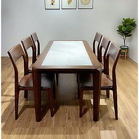 Bộ bàn ăn gỗ sồi 6 ghế ,màu óc chó mặt đá ma Ms02