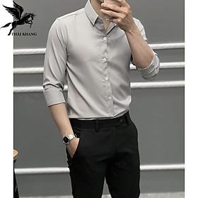 Áo sơ mi nam dài tay Hàn Quốc vải lụa thái chống nhăn cao cấp loại 1 mịm màn thoải mái khi mặc size 50-75kg