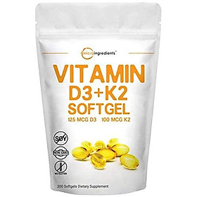 Vitamin D3 5000IU Plus K2, 2 in 1 Formula, 300 Liquid Soft-gels for Better Absorption, Immune Vitamin Complex, Support Your Heart, Teeth and Joint Health, No GMO and Made in USA