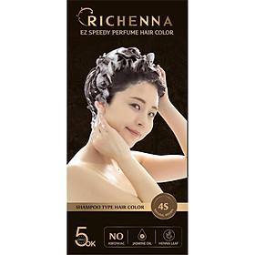 Thuốc nhuộm tóc phủ bạc thảo dược  Richenna EZ Speedy Perfume Hair Color dạng dầu gội hương nước hoa màu nâu hạt dẻ 60G